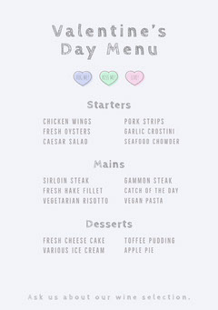 Pastel and Gray Heart Valentine's Day Party Menu Valentine's Day