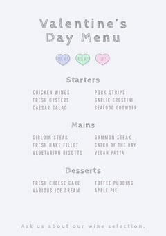 pastel heart valentines menu Valentine's Day
