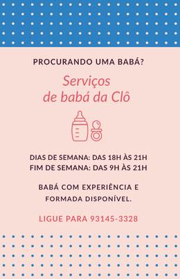 Serviços <BR>de babá da Clô  Panfletos