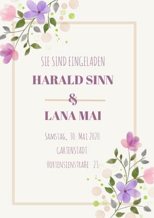 purple floral wedding cards  Hochzeitseinladung