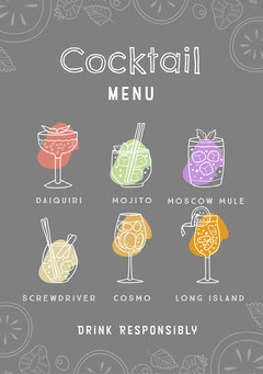 grey white bright colorful cocktail menu a5 Drink