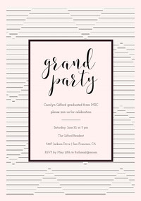 Black and White Elegant Striped Graduation Party Invitation Card Einladung zur Abschlussfeier