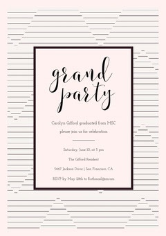 Black and White Elegant Striped Graduation Party Invitation Card Graduation Congratulation