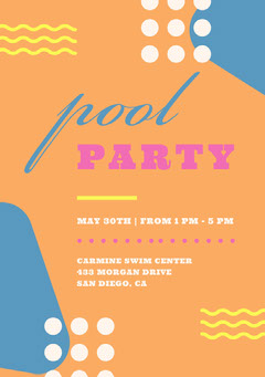 Multicolored Pool Party Invitation Card Party