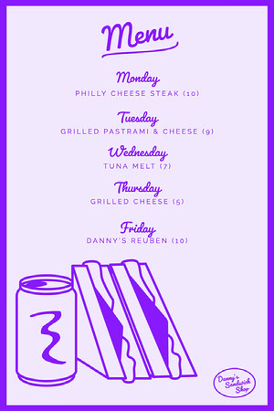 Purple Framed Weekly Menu Weekly Menu