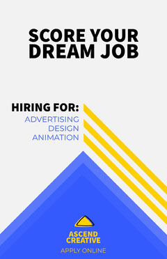 Yellow and Blue Geometric Creative Agency Open Position Job Poster Job Poster