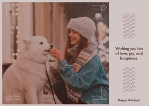 Smiling Woman and Dog Holiday Photo Card Christmas Card