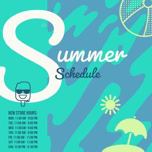 Blue and White Summer Schedule Instagram Graphic Planning