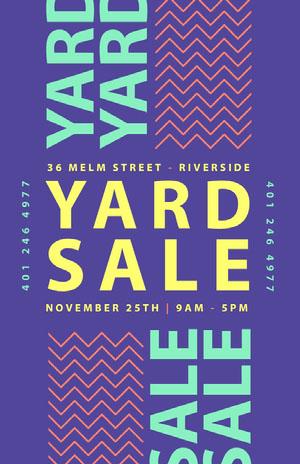 Purple, Green and Yellow, Yard Sale Poster Yard Sale Sign