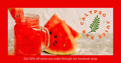 Red Border Watermelon Juice Bar Facebook Post Advert Juice