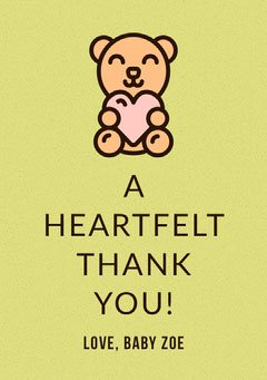 Yellow Illustrated Thank You Baby Shower Card with Teddy Bear Baby Shower