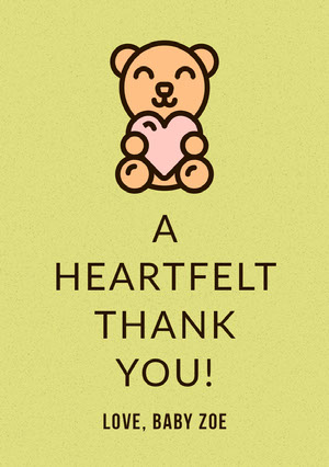 Yellow Illustrated Thank You Baby Shower Card with Teddy Bear Baby Shower Thank You Card
