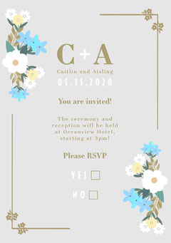 White, Blue and Golden Flowers Classical Wedding Invite  Couple