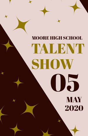 Pink Talent Show School Event Flyer with Stars Pink Flyers