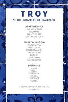 White and Blue Mediterranean Restaurant Menu  Restaurants