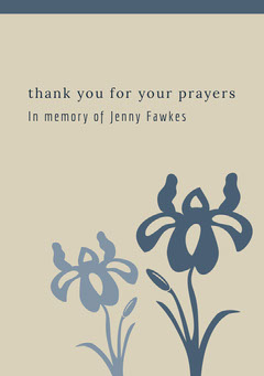 Blue and Grey Thank You Card Funeral