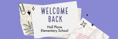 Purple and White Paper Scraps Welcome Back Elementary School Banner Welcome Poster
