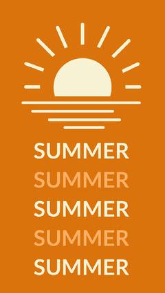 Orange Summer Mobile Phone Wallpaper with Sun Sun