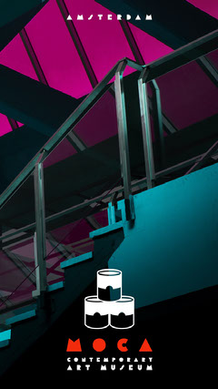 Pink and Blue Staircase Photo Contemporary Art Museum Amsterdam Snapchat Filter Art