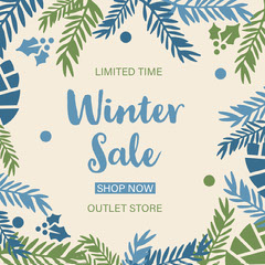Blue, White and Green, Winter Sale Ad, Instagram Post Winter