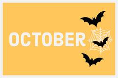 Yellow October Bats Halloween Flashcard Autumn