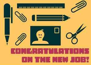 Yellow New Job Card Congratulations Messages