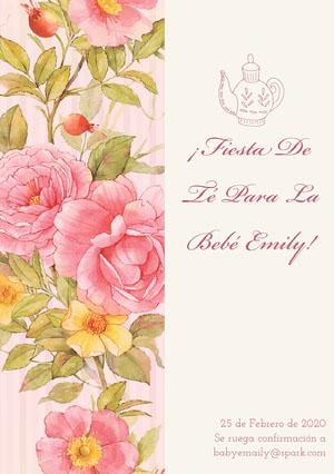 tea party baby shower invitations  Invitación de fiesta de nacimiento
