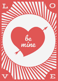 Red and White, Light Toned, Valentines Day Card Messages d'amour