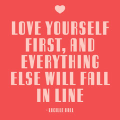 Red & Pink Self Love Quote Instagram Square  Love