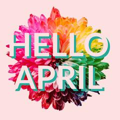 Colorful Floral Hello April Instagram Square Hello