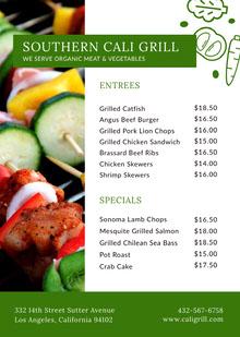 Green Barbecue Restaurant Menu with Shish Kebab Photo BBQ Menu