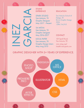 Pink and Blue Graphic Designer Resume Currículo profissional