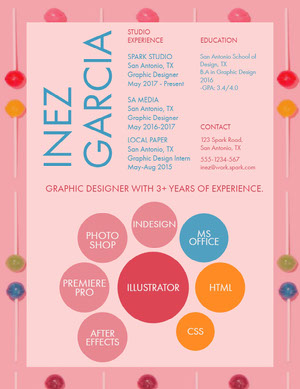 Pink and Blue Graphic Designer Resume Resume  Examples