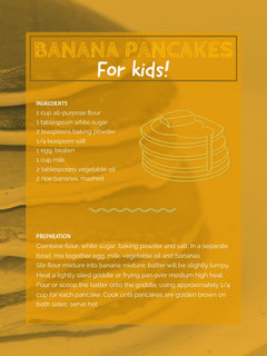 Orange Banana Pancakes Recipe Card Fruit