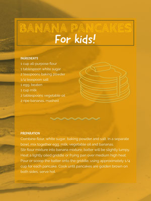 Orange Banana Pancakes Recipe Card 食譜卡