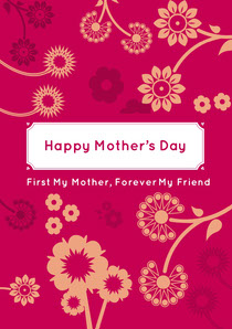 Pink and White Happy Mother's Day Card Mother's Day Card