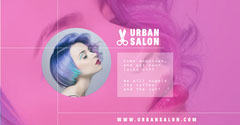 Pink Hair Salon Facebook Ad with Woman Photo Hair Salon