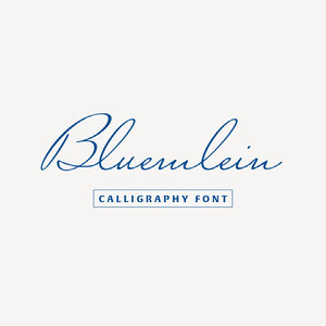 Blue Calligraphy Font Logo Brand Square Graphic 32 polices calligraphiques & scriptes