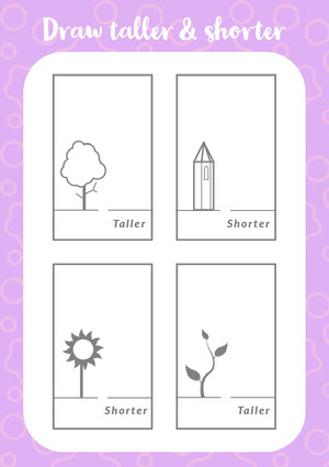 Pink Illustrated Drawing Worksheet for Children Fiche d'exercices