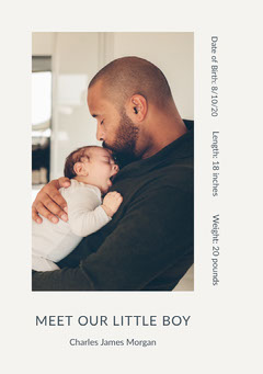 Birth Announcement Card with Photo of Father and Son Boys