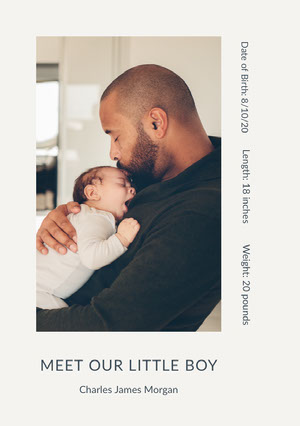 Birth Announcement Card with Photo of Father and Son Baby Shower Card