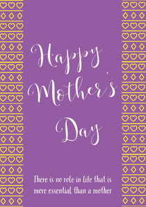 Violet and White Happy Mother's Day Card Mother's Day Card