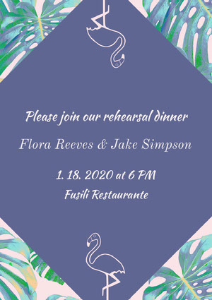 Green and Violet Rehearsal Dinner Invitation Rehearsal Invitation