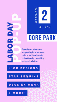 Navy Blue and Pink Labor Day Poster Labor Day Flyer