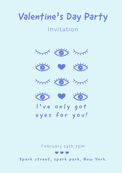 Blue Eyes and Hearts Valentine's Day Party Invitation Card Valentine's Day