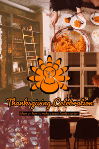 Orange Thanksgiving Celebration Ideas Pinterest Graphic with Collage Holiday Card