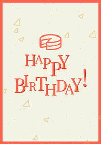 White and Red Minimalistic Happy Birthday Wishes Card cumpleaños