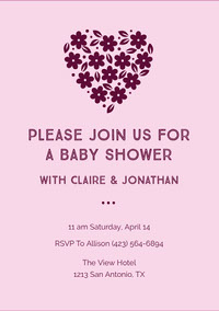 Claret and Pink Baby Shower Invitation Invitations