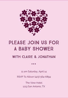 Claret and Pink Baby Shower Invitation Baby Shower (Girl)