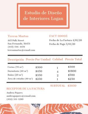 interior design studio invoice  Factura